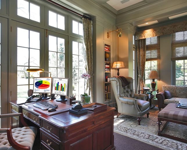 Home office decorated in a traditional style